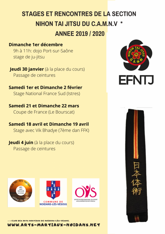 Stages et rencontres section ntj annee 2019 2020